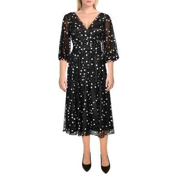 Carmen Marc Valvo Womens Cocktail Dress Tulle Polka Dot - Black-White