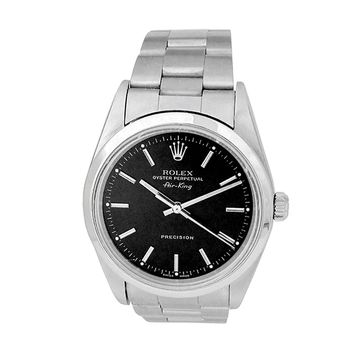 Pre-owned 34mm Rolex Stainless Steel Oyster Perpetual Airking Watch with Black Dial