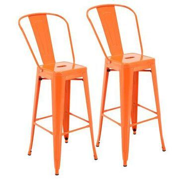 Porthos Home Rust-Resistant Metal Patio Barstool with Back, 30