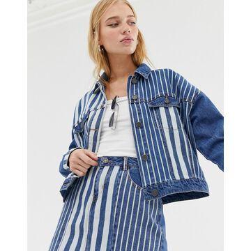 Noisy May stripe denim jacket-Blue