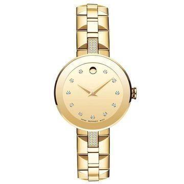 Movado Women's 0606817 'Sapphire' Crystal, Dot Gold-Tone Stainless Steel with Sets of Diamond Watch (8 Inch - Stainless Steel - 30 Meters - Sapphire