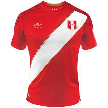 Men's Umbro Red/White Peru National Team 2018 Away Jersey