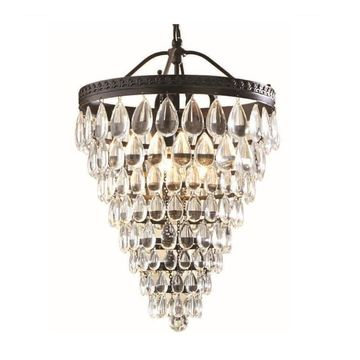 allen + roth Eberline Oil-Rubbed Bronze Multi-Light Modern/Contemporary Crystal Cone Pendant Light