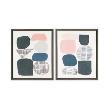 Urban Habitat Grey Rock Garden 2-Pc. Framed Gel-Coated Canvas Print Set