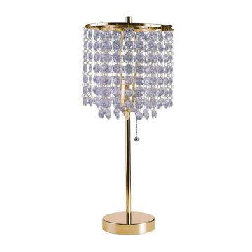Ore International Deco Glam Stylish Gold Crystal Beaded Table Lamp