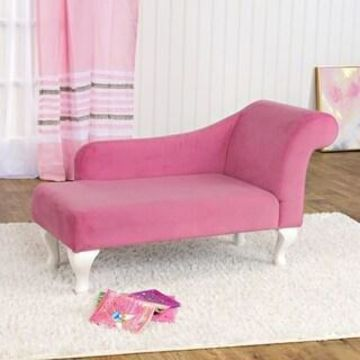 HomePop Juvenile Chaise Lounge in Pink Velvet (Pink)