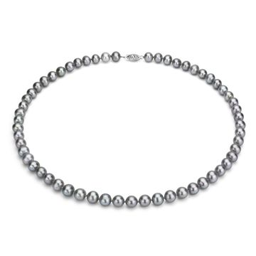 DaVonna Sterling Silver 7-8mm Grey Freshwater Pearl Necklace