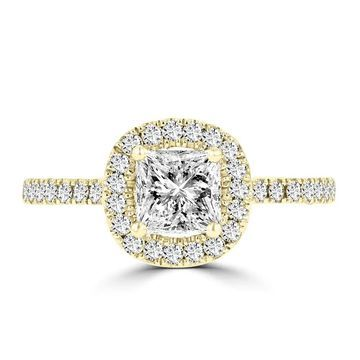 La Vita Vital 14K Yellow Gold Diamond 1.60cts TDW Halo Engagement Ring - White G-H