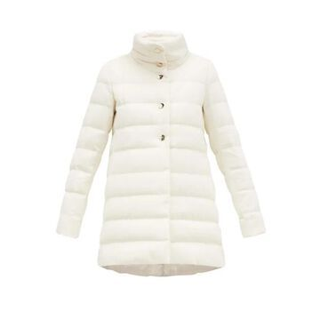 Herno - Quilted Silk Blend Down Coat - Womens - White