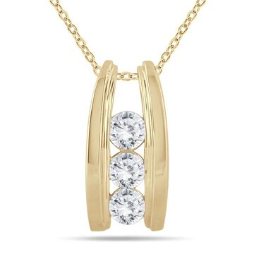 Marquee Jewels 14k Yellow Gold 1ct TDW Diamond Ladder 3-stone Necklace (18 Inch - White - Yellow)