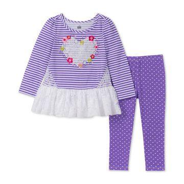 Toddler Girls 2-Pc. Lace-Trim Tunic & Heart-Print Leggings Set