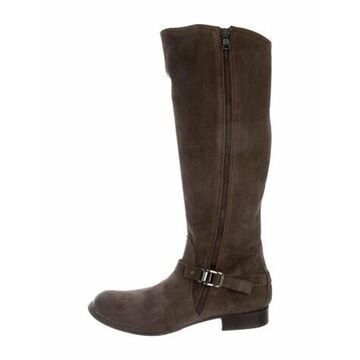 Suede Riding Boots Brown