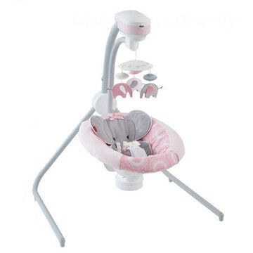 Fisher-Price Cradle 'n Swing with 6-Speeds, Blush Safari