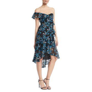 One-Shoulder Floral-Guipure Lace Ruffle Dress