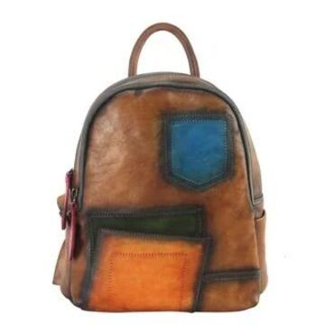 Diophy Genuine Leather 3 Tones Patching Design Backpack