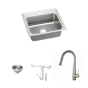 Elkay Celebrity Drop-In 22-in x 19.5-in Brushed Satin Single Bowl 1-Hole Kitchen Sink All-in-One Kit