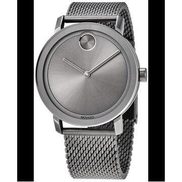Movado Bold Grey Sunray Dial Mesh Steel Band Men's Watch 3600561 3600561