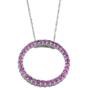 Fremada 14k White Gold Pink Sapphire Circle Necklace
