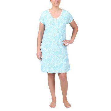 Miss Elaine Knit Scoop Neck Short Nightgown