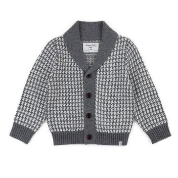 Sovereign Code Houndstooth Cardigan in Light Grey