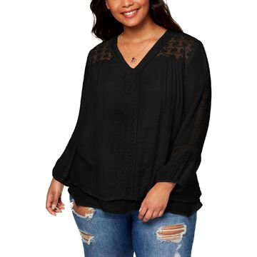 Style & Co. Womens Plus Layered 3/4 Sleeves Pullover Top