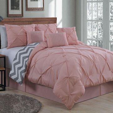 Avondale Manor Ella Pinch Pleat Comforter Set, Pink, King