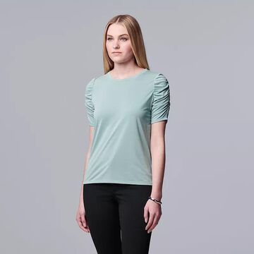 Women's Simply Vera Vera Wang Ruched Elbow Sleeve Tee, Size: XS, Med Blue