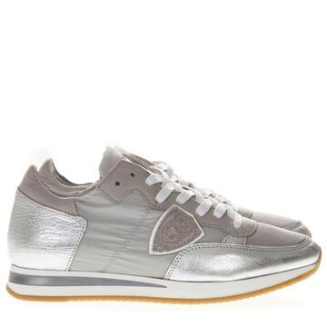 Philippe Model Metallic Grey Leather And Nylon Sneakers