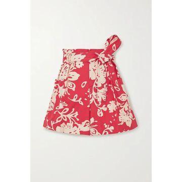 REDValentino - Belted Floral-print Cotton-poplin Shorts