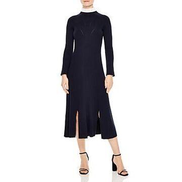 Sandro Peau Ribbed A-Line Midi Dress