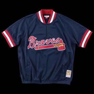 Mitchell & Ness MLB 1/4 Zip Jacket - Atlanta Braves - Navy, Size One Size
