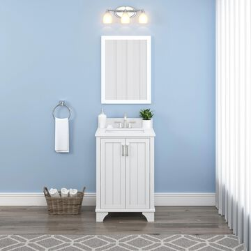 allen + roth Whittaker 24-in White Undermount Single Sink Bathroom Vanity with White Engineered Stone Top   LPWVT2439