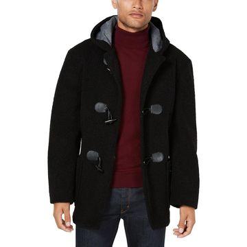 Tallia Mens Fluff Winter Faux Fur Toggle Coat