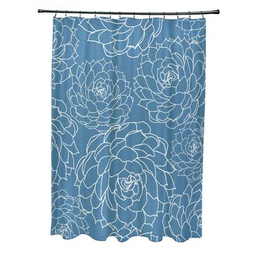 Olena Floral Print Shower Curtain (Green)