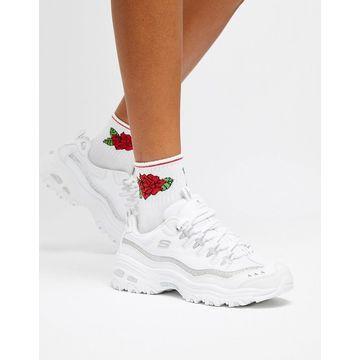 Skechers D'Lites white sneakers