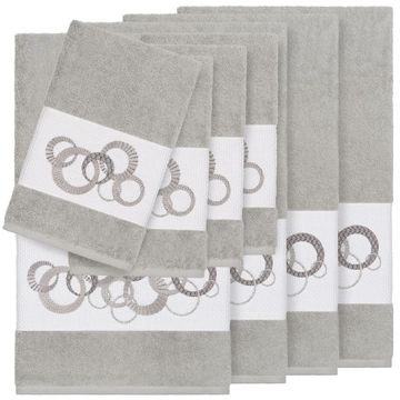 Authentic Hotel and Spa Turkish Cotton Circles Embroidered Light Grey 8-piece Towel Set