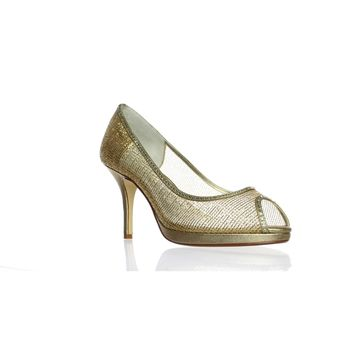 Caparros Womens Future-716 Gold Peep Toe Heels Size 10
