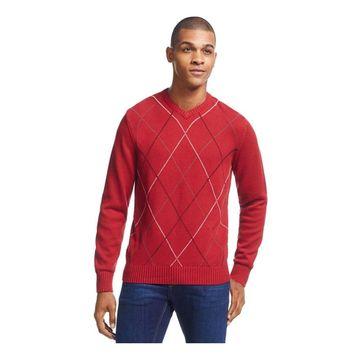 Geoffrey Beene Mens Harlequin Pullover Sweater