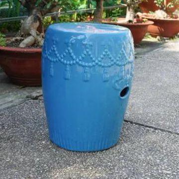 International Caravan Glazed Ceramic Tasseled Garden Stool (falling aqua glaze)