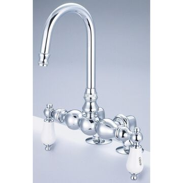 Water Creation Vintage Classic 3 3/8-inch Center Deck Mount Tub Faucet with Gooseneck Spout and 2-inch Risers in Chrome Finish