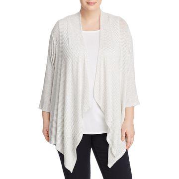Cupio Womens Plus Drape Stripe Cardigan Sweater