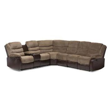 Baxton Studio Robinson 7-Piece Sectional Sofa in Brown/Taupe