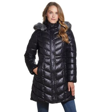 Women's Gallery Faux-Fur Hood Puffer Quilted Coat