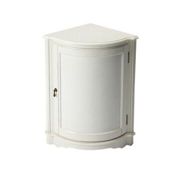 Offex Home Decor Durham Cottage White Corner Cabinet