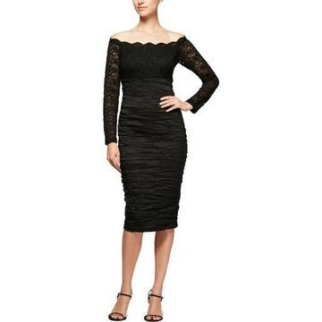 Alex Evenings Womens Lace Off-The-Shoulder Evening Dress