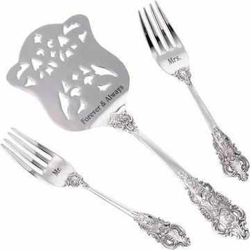 Lillian Rose Silver Server And 2 Forks, Mr. And Mrs.