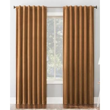 """Sun Zero Amherst Velvet Noise Reducing Thermal Extreme Blackout Back Tab Curtain Panel, 63"""" L x 50"""" W"""