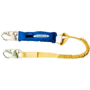 Werner DCELL Shock Pack - 6ft. Elastic Web Lanyard and BigHead Safety Hook, Model C341100