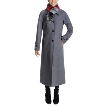 London Fog Plaid-Scarf Maxi Coat
