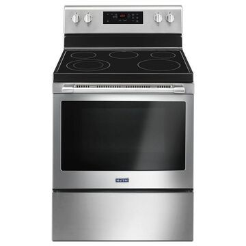 Maytag Smooth Surface 5-Element 5.3-cu ft Self-Cleaning Freestanding Electric Range (Fingerprint-Resistant Stainless Steel) (Common: 30-in; Actual: 29.875-in)